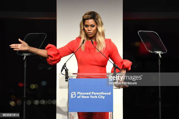 Laverne Cox speaks onstage at the Planned Parenthood's 2018 Spring Into Action Gala at Spring Studios on May 1 2018 in New York City