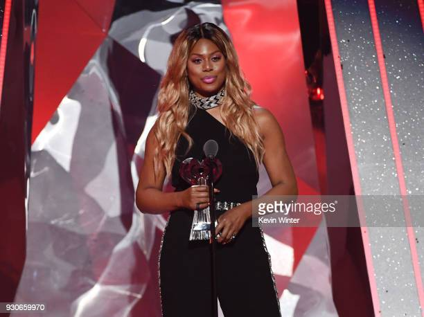 Laverne Cox speaks onstage during the 2018 iHeartRadio Music Awards which broadcasted live on TBS TNT and truTV at The Forum on March 11 2018 in...
