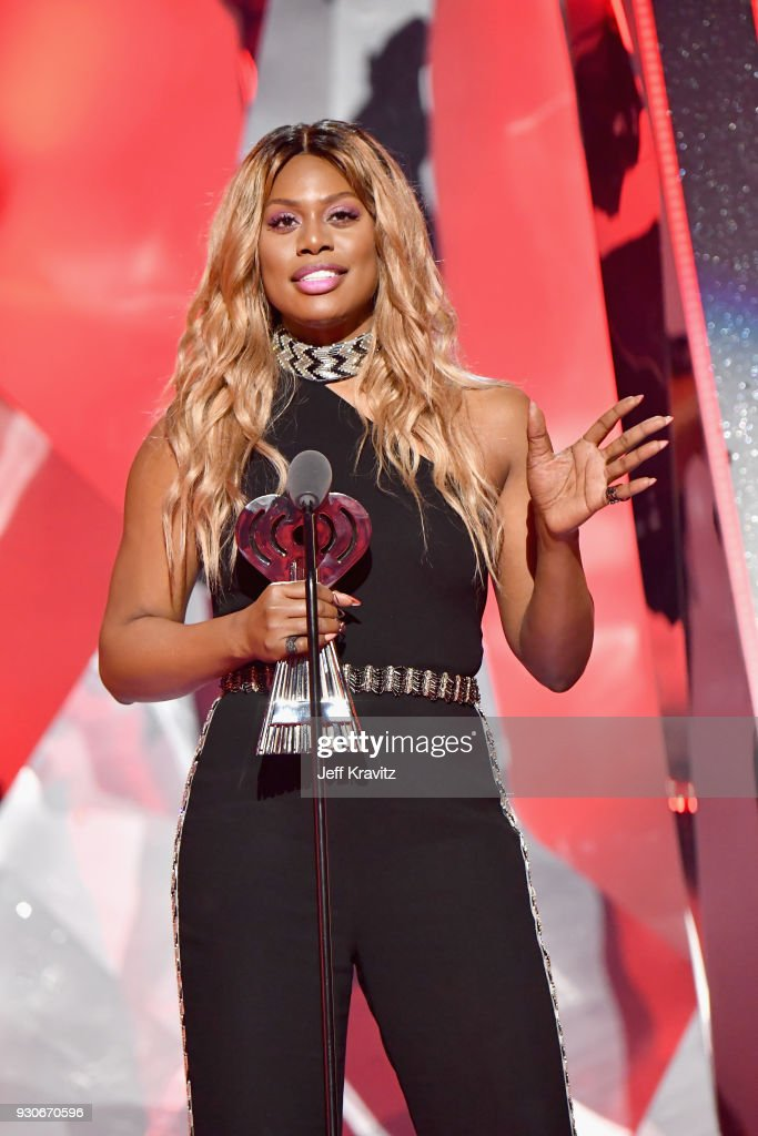 Laverne Cox speaks onstage during the 2018 iHeartRadio Music Awards which broadcasted live on TBS, TNT, and truTV at The Forum on March 11, 2018 in Inglewood, California.