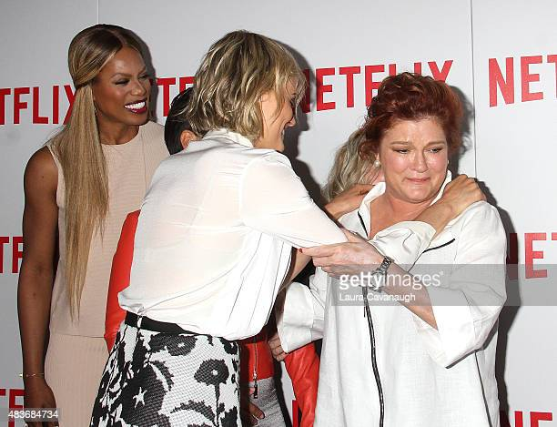 Laverne Cox Taylor Schilling and Kate Mulgrew attend FYC Screening Of Orange Is The New Black at DGA Theater on August 11 2015 in New York City