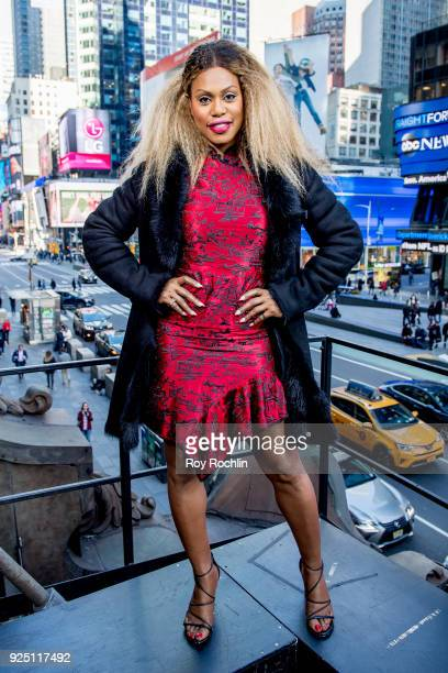 Laverne Cox Visits 'Extra' at Hard Rock Cafe Times Square on February 27 2018 in New York City