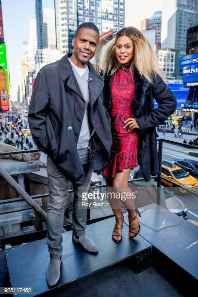 Laverne Cox visits 'Extra' with host AJ Calloway at Hard Rock Cafe Times Square on February 27 2018 in New York City
