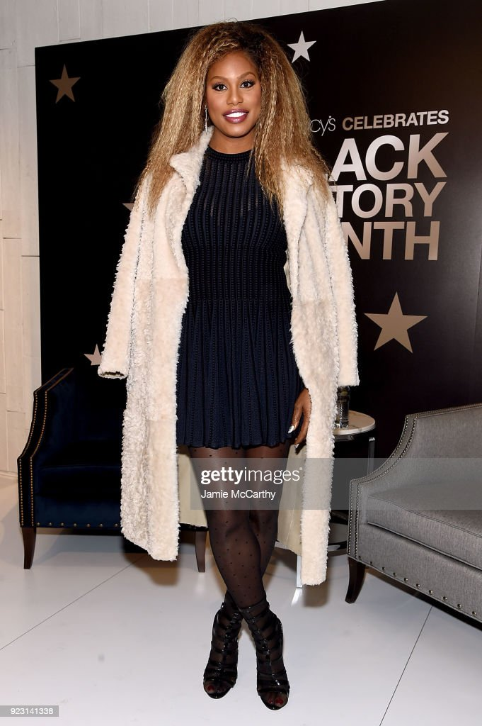 Laverne Cox visits Macy's Herald Square at Macy's Herald Square on February 22, 2018 in New York City.