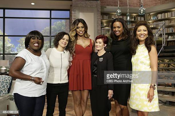 Laverne Cox visits the ladies of The Talk on Tuesday Aug 11 2015 for the CBS Television Network From left Sheryl Underwood Sara Gilbert Laverne Cox...