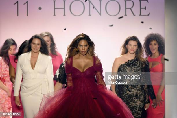 Laverne Cox walks the runway for the 11 Honore fashion show finale during New York Fashion Week The Shows at Gallery I at Spring Studios on February...