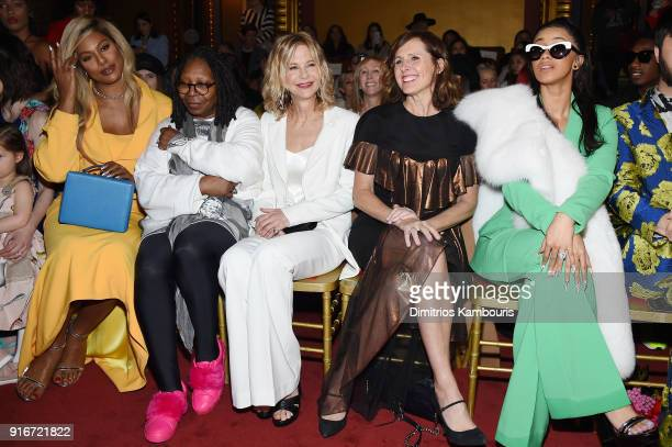 Laverne Cox Whoopi Goldberg Meg Ryan Molly Shannon and Cardi B attend the Christian Siriano fashion show during New York Fashion Week at Grand Lodge...