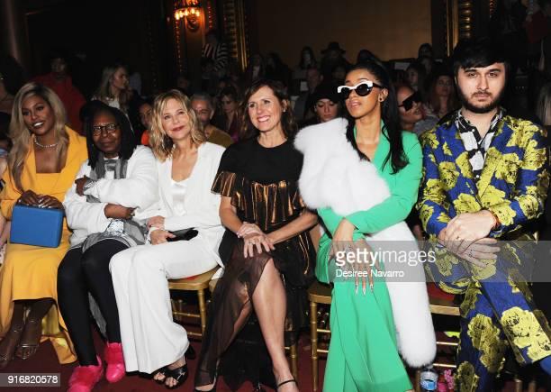 Laverne Cox Whoopi Goldberg Meg Ryan Molly Shannon Cardi B and Brad Walsh attend the Christian Siriano fashion show during New York Fashion Week at...