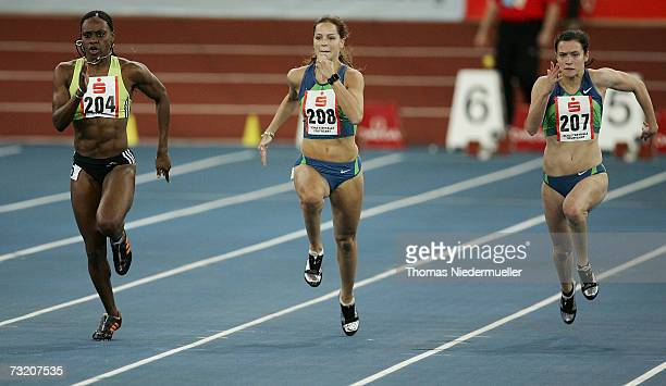 LaVerne Jones of the US territory Virgin Island, Sina Schielke of Germany and Verena Sailer of Germany competes for the 60m run during the Sparkassen...