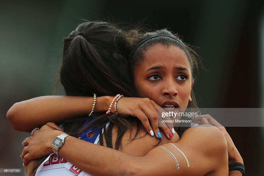 Laviai Nielsen is congratulated by Lina Nielsen of Great Britain after the Women's 400m final at Ekangen Arena on July 17, 2015 in Eskilstuna, Sweden.