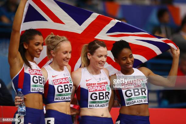 Laviai Nielsen Philippa Lowe Eilidh Doyle and Mary Iheke of Great Brtain celebrate after winning the silver medal in the Women's 4x400 metres relay...