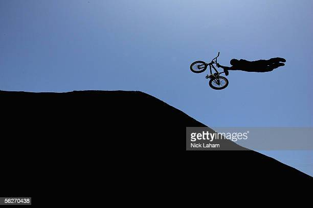 J Lavin performs a superman during practice for the BMX Freestyle dirt section of XGames Eleven on August 6 2005 at the Home Depot Center in Los...