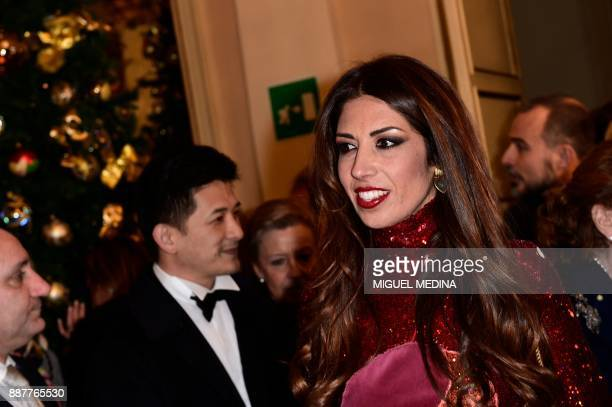 Lavinia Biagiotti arrives at the Teatro alla Scala opera house for the Premiere of 'Andrea Chénier' of Italian composer Umberto Giordano which opens...