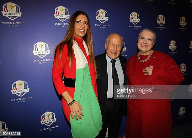 Lavinia Biagiotti Italian Golf Federation President Franco Chimenti and Laura Biagiotti pose before the Ryder Cup 2022 press conference at Foro...