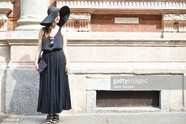 Lavinia Biancalani poses wearing a Banana Republic dress on June 21 2015 in Milan Italy