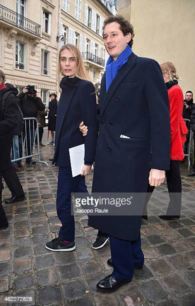Lavinia Borromeo and John Elkann attend the Dior show as part of Paris Fashion Week Haute Couture Spring/Summer 2015 on January 26 2015 in Paris...