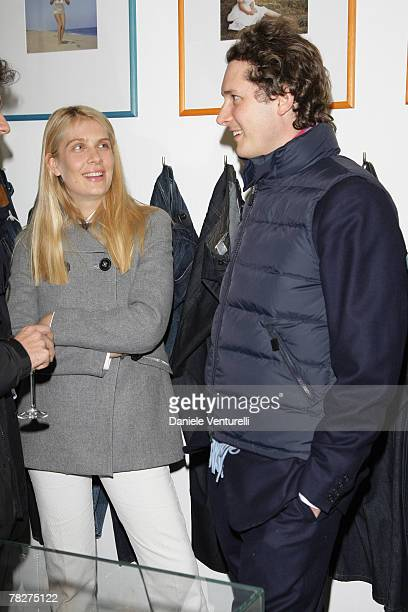 Lavinia Borromeo and John Elkann attends the launch party of 'Italia Independent Ambassador' at the fashion store San Carlo on December 5 2007 in...
