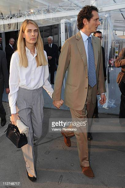 Lavinia Borromeo and John Jacob Philip Elkann attend during the Eni Opening Exhibition at the Pinacoteca Agnelli on April 20 2011 in Turin Italy