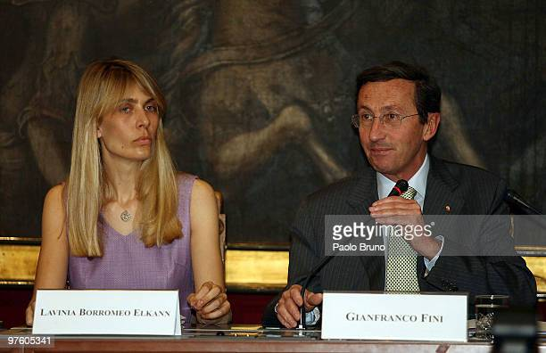 Lavinia Borromeo Elkann and President of Chamber of Deputies Gianfranco Fini attend the press conference for the presentation of the Torino 2010 ISU...