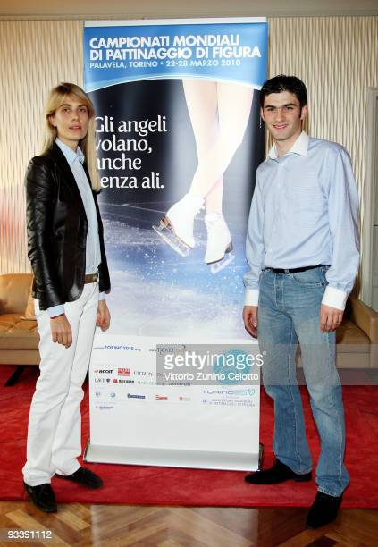 Lavinia Borromeo Elkann and Samuel Contesti attend the 2010 Torino World Figure Skating Championship Press Conference on November 25 2009 in Milan...