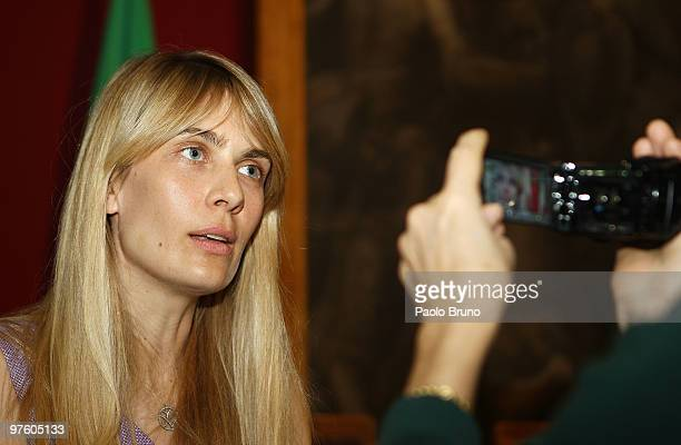 Lavinia Borromeo Elkann speaks to journalists during the press conference for the presentation of the Torino 2010 ISU World Figure Skating...