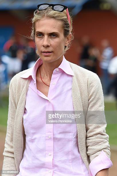 Lavinia Borromeo wife of John Elkann attends prior to the preseason friendly match between Juventus A and Juventus B on August 20 2014 in Villar...