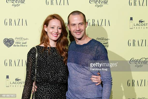 Lavinia Wilson and Barnaby Metschurat attend the 5th anniversary celebrations of the GRAZIA magazine at Grill Royal on October 08 2015 in Berlin...