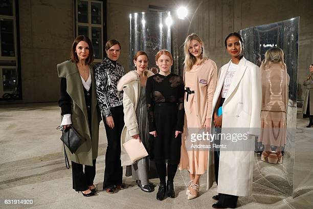 Lavinia Wilson Fritzi Haberlandt designer Malaika Raiss Mandy Bork and Sara Nuru attend the Malaikaraiss defile during the Der Berliner Mode Salon...