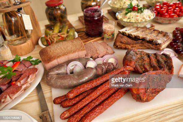 lavish polish meat hut or antipasto charcuterie bar - charcuterie board stock pictures, royalty-free photos & images