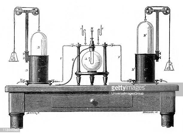 Lavoisier's apparatus for synthesizing water from hydrogen and oxygen From Robert Routledge A Popular History of Science London 1881 Antoine Laurent...