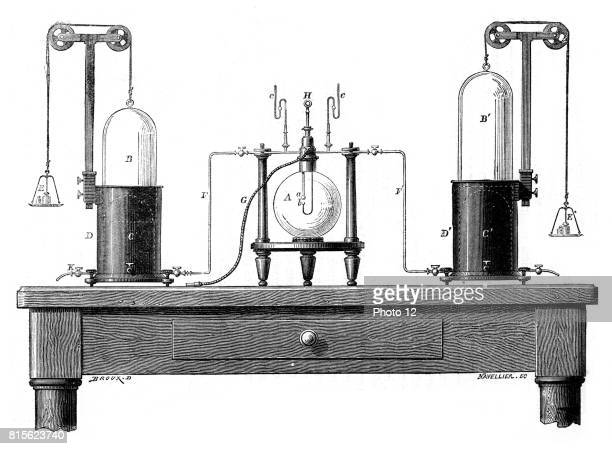 Lavoisier's apparatus for synthesizing water from hydrogen and oxygen From Robert Routledge 'A Popular History of Science' London 1881 Antoine...