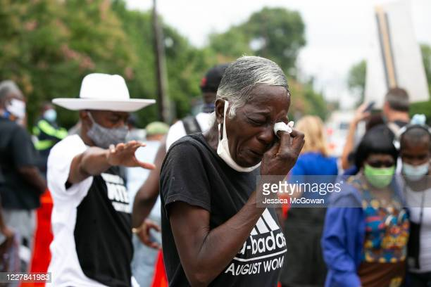 Lavonia Morris cries for civil rights icon, US Rep. John Lewis outside of Ebenezer Baptist Church on July 30, 2020 in Atlanta, Georgia. Former...