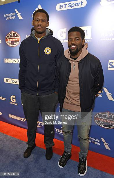 Lavoy Allen and Aaron Brooks attend the NBA Global Game London 2017 after party at The O2 Arena on January 12 2017 in London England