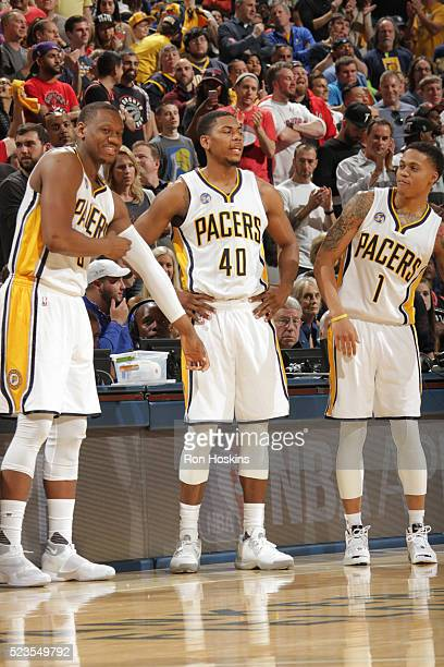Lavoy Allen Glenn Robinson III and Joe Young of the Indiana Pacers during Game Four of the Eastern Conference Quarterfinals during the 2016 NBA...