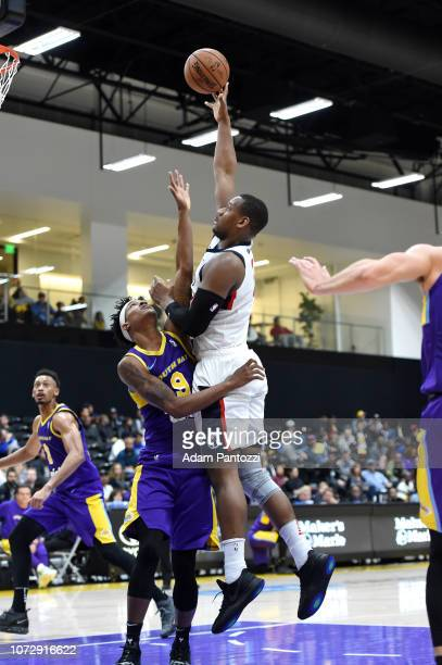 Lavoy Allen of the Capital City GoGo goes to the basket against the South Bay Lakers on December 13 2018 at UCLA Heath Training Center in El Segundo...