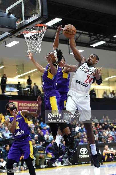Lavoy Allen of the Capital City GoGo rebounds the basketball against the South Bay Lakers on December 13 2018 at UCLA Heath Training Center in El...