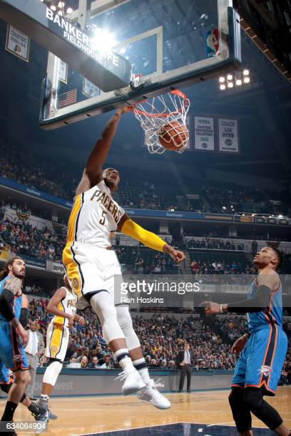Lavoy Allen of the Indiana Pacers dunks the ball against the Oklahoma City Thunder on February 6 2017 at Bankers Life Fieldhouse in Indianapolis...