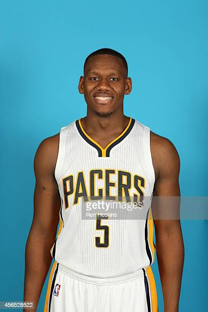 Lavoy Allen of the Indiana Pacers during the Pacers media day at Bankers Life Fieldhouse on September 29 2014 in Indianapolis Indiana NOTE TO USER...