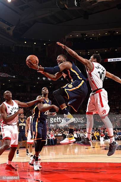 Lavoy Allen of the Indiana Pacers goes for the layup during the game against the Toronto Raptors in Game Five of the Eastern Conference Quarterfinals...