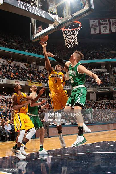 Lavoy Allen of the Indiana Pacers goes to the basket against the Boston Celtics on November 12 2016 at Bankers Life Fieldhouse in Indianapolis...