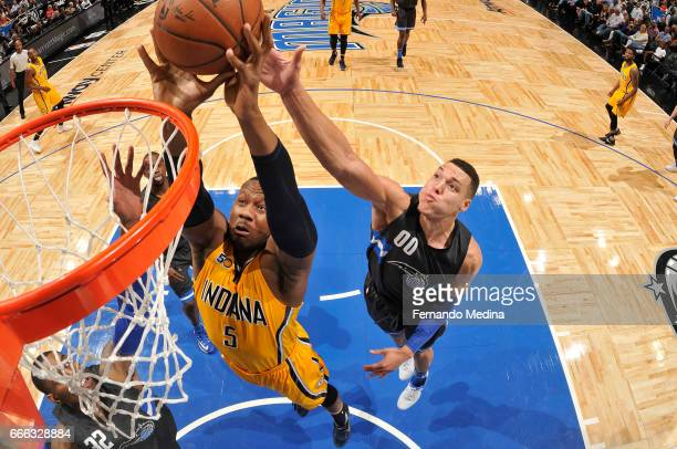 Lavoy Allen of the Indiana Pacers goes to the basket against the Orlando Magic on March 24 2017 at Amway Center in Orlando Florida NOTE TO USER User...