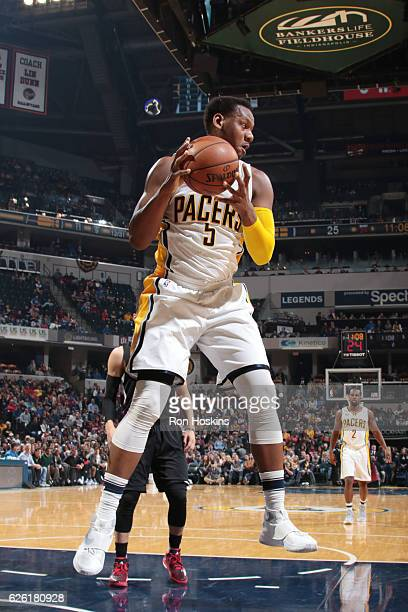 Lavoy Allen of the Indiana Pacers grabs the rebound against the LA Clippers on November 27 2016 at Bankers Life Fieldhouse in Indianapolis Indiana...