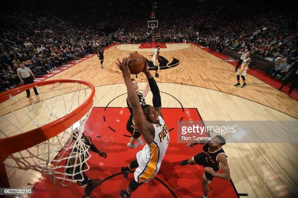 Lavoy Allen of the Indiana Pacers grabs the rebound against the Toronto Raptors on March 31 2017 at the Air Canada Centre in Toronto Ontario Canada...