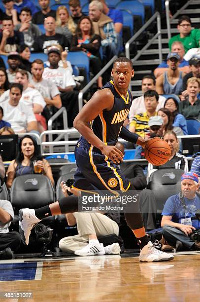 Lavoy Allen of the Indiana Pacers handles the ball against the Orlando Magic on April 16 2014 at Amway Center in Orlando Florida NOTE TO USER User...