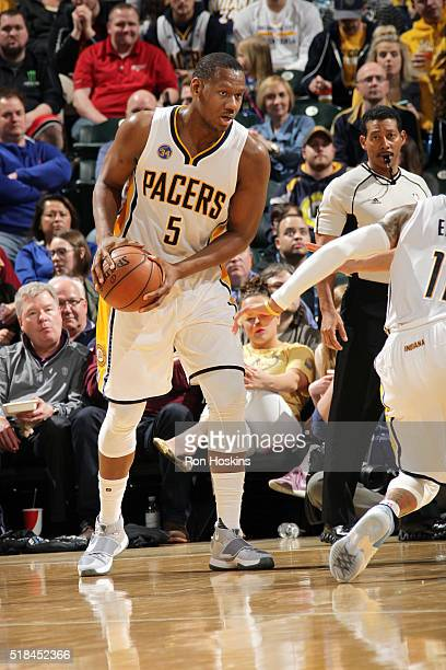 Lavoy Allen of the Indiana Pacers handles the ball during the game against the Orlando Magic on March 31 2016 at Bankers Life Fieldhouse in...