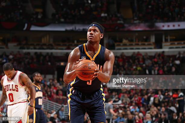 Lavoy Allen of the Indiana Pacers shoots a free throw against the Chicago Bulls on October 8 2016 at the United Center in Chicago Illinois NOTE TO...