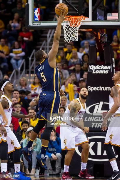 Lavoy Allen of the Indiana Pacers shoots during the second half against the Cleveland Cavaliers at Quicken Loans Arena on April 2 2017 in Cleveland...