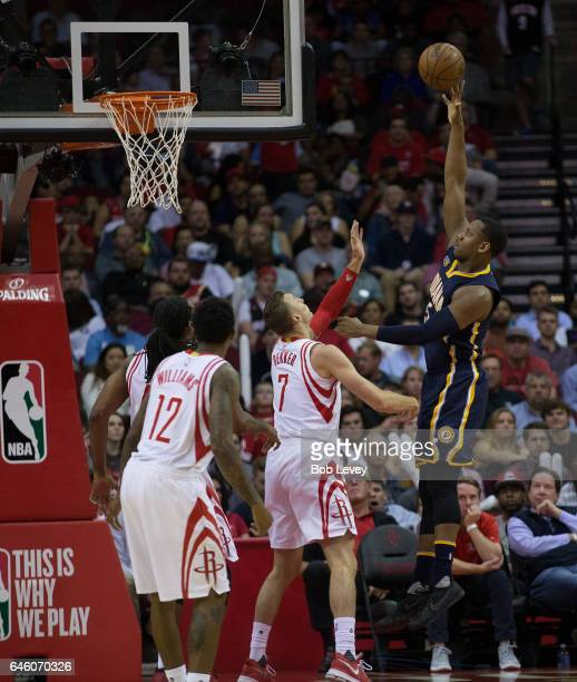 Lavoy Allen of the Indiana Pacers shoots over Sam Dekker of the Houston Rockets as Louis Williams looks on at Toyota Center on February 27 2017 in...