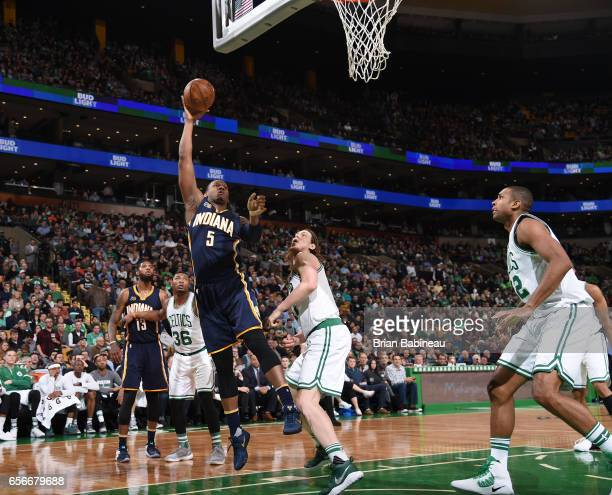 Lavoy Allen of the Indiana Pacers shoots the ball against the Boston Celtics during the game on March 22 2017 at the TD Garden in Boston...