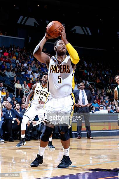Lavoy Allen of the Indiana Pacers shoots the ball against the Milwaukee Bucks during a preseason game on October 12 2016 at Ford Center in Evansville...