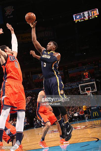 Lavoy Allen of the Indiana Pacers shoots the ball against the Oklahoma City Thunder on November 20 2016 at Chesapeake Energy Arena in Oklahoma City...